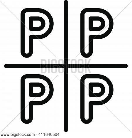 Empty Parking Lot Icon, Parking Lot Related Vector Illustration