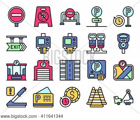 Parking Lot Related Vector Icon Set 3, Filled Style