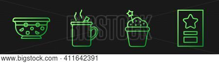 Set Line Cake, Mixed Punch In Bowl, Mulled Wine And Greeting Card. Gradient Color Icons. Vector