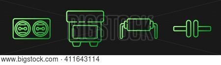 Set Line Resistor Electricity, Electrical Outlet, Fuse And Electric Circuit Scheme. Gradient Color I