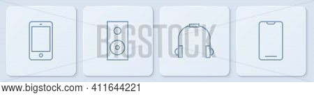 Set Line Smartphone, Mobile Phone, Headphones, Stereo Speaker And . White Square Button. Vector