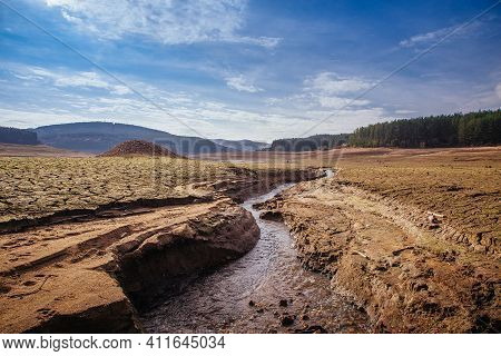 The Bottom Of The Empty Studena Dam Near Pernik, Bulgaria. Hot Weather And Climate Changes Makes The