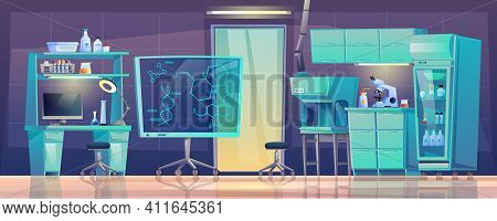 Medical Furniture Laboratory Equipment Beakers Room Interior Design. Diagnostic Computers And Test T