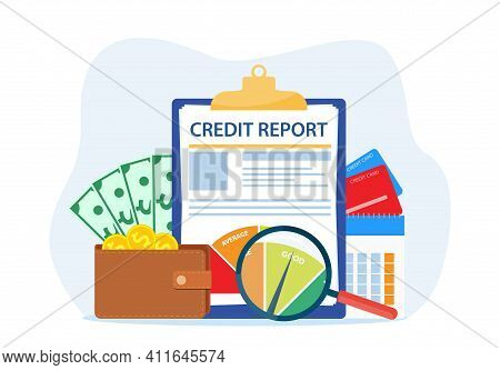 Credit Report Document Concept. Money , Credit Card, Lending, Infographic, Personal Credit Score Inf