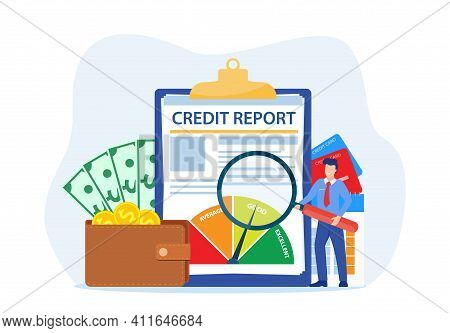 Credit Report Document Concept. Money , Credit Card, Lending, Infographic, With People, Credit Ratin