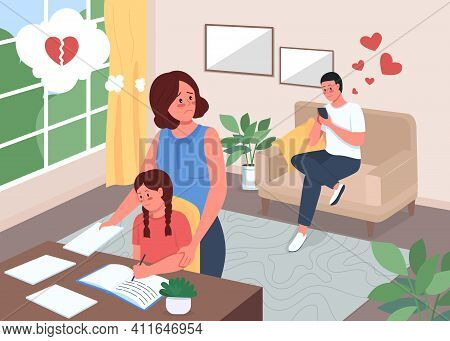 Infidelity Flat Color Vector Illustration. Cheating Husband. Wife Worry About Spouse. Child Doing Ho