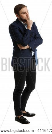 Young Man In Business Attire On White Background