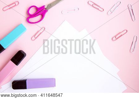 School Stationery And Supplies On Pink Background. Back To School