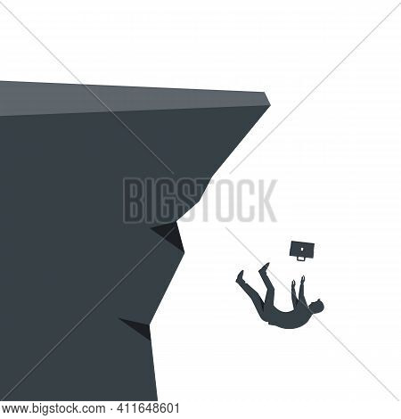 Silhouette Of A Businessman Falling Into The Abyss. Falling Businessman. Career Growth. Rapid Fall A
