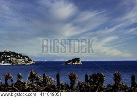 The Island Of Bergeggi, Taken From The Top Of The Ligurian Coast Between Bergeggi And Spotorno