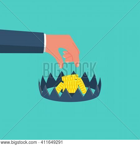 Money Trap. Business People Metaphor. Man Wants To Take Gold Coins With A Mousetrap. Sharp Spikes Of