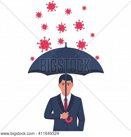 Protecting Coronavirus Concept. Businessman In Suit In Hands Holds An Umbrella That Protects Against