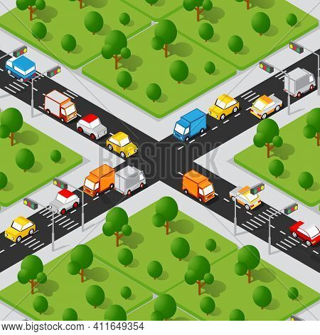 Crossroad Road Isometric 3d City Street With Cars, Trees