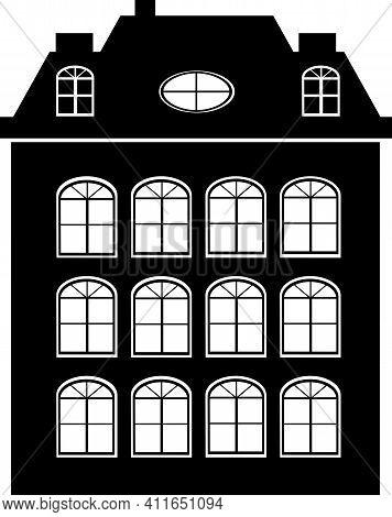 Vector Element Silhouette Single House Construction Building