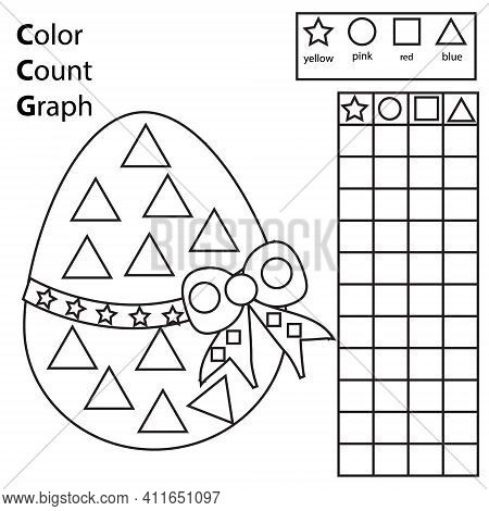 Color, Count And Graph. Educational Children Game. Color Easter Egg And Counting Shapes. Printable W