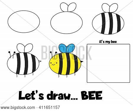 Drawing Tutorial For Children. Printable Creative Activity For Kids. How To Draw Step By Step A Bee.