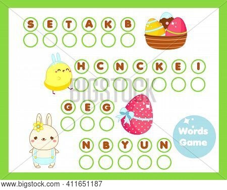 Easter Word Game For Kids And Toddlers. Educational English Vocabulary Learning Activity. Crossword