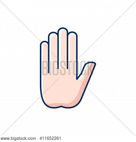 Stop Gesture Rgb Color Icon. Prohibition Of Something. Palm Of A Hand With Five Fingers. Communicati