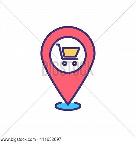 Local Shopping Rgb Color Icon. Buying Productions, Clothing And Day-to-day Items Brom Local Business