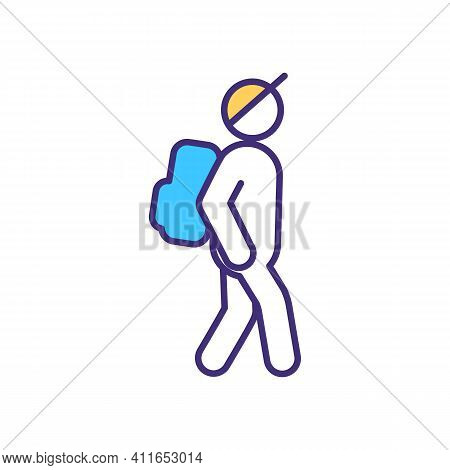Backpacking Rgb Color Icon. Hiking With Pack On Back. Local Tourism. Travel With Minimal Luggage. Ou