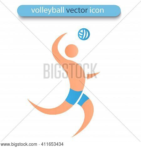 Volleyball Player Isolated On White Background. Beach Volleyball Icon. Symbol Of Summer Sports And H