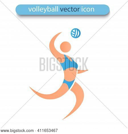 Volleyball Player Isolated On White Background. Famale Beach Volleyball Icon. Symbol Of Summer Sport