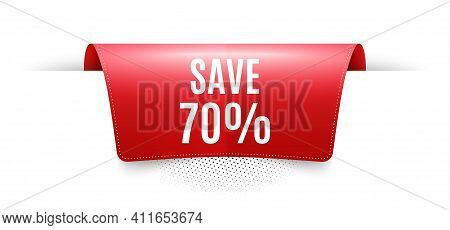 Save 70 Percent Off. Red Ribbon Label Tag. Sale Discount Offer Price Sign. Special Offer Symbol. Inf