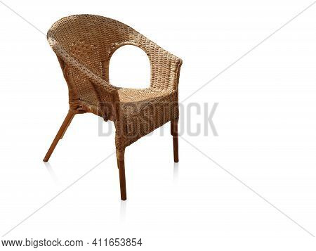 Old Wooden Chair With Backrest On White Background, Object, Furniture, Vintage, Retro, Copy Space