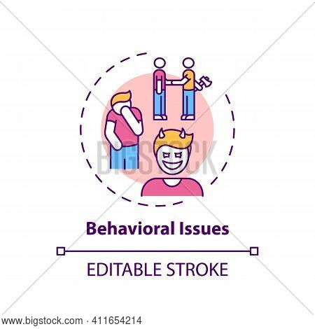 Behavioral Issues Concept Icon. Online Family Therapy Types. Behavioral And Conduct Disorder Basics