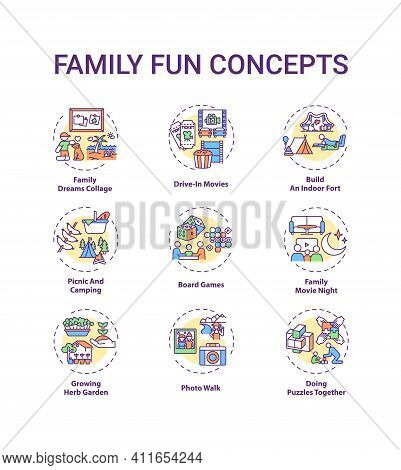Family Fun Concept Icons Set. Family Dreams Collage. Growing Herb Garden. Family Movie Night Cinema