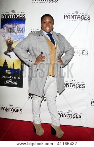 LOS ANGELES - JAN 15:  Alex Newell arrives at the opening night of 'Peter Pan' at Pantages Theater on January 15, 2013 in Los Angeles, CA