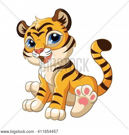 Cute Sitting Tiger. Cartoon Character. Vector Isolated Colorful Illustration. For Print And Design,