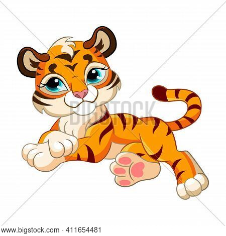 Cute Lying Tiger. Cartoon Character. Vector Isolated Colorful Illustration. For Print And Design, Po
