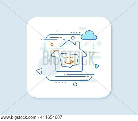 Yummy Smile Line Icon. Abstract Vector Button. Emoticon With Tongue Sign. Speech Bubble Symbol. Yumm