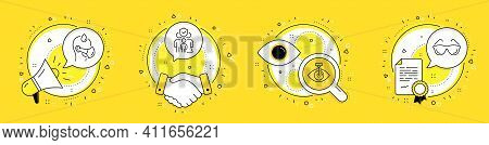 Family Insurance, Sick Man And Eye Laser Line Icons Set. Megaphone, Licence And Deal Vector Icons. E