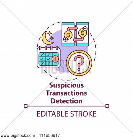 Transactions Detection Concept Icon. Terrorist Financing Idea Thin Line Illustration. Money Launderi