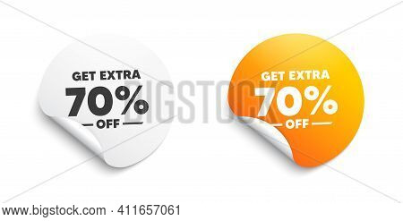 Get Extra 70 Percent Off Sale. Round Sticker With Offer Message. Discount Offer Price Sign. Special