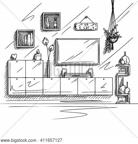 A Sketch Of A Television Room. Tv Furniture, Other Interior Elements. Vector Illustration