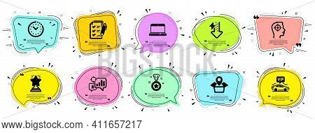 Business Icons Set. Speech Bubble Offer Banners. Vector Coupon Badge. Included Icon As Vip Transfer,