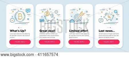 Set Of Finance Icons, Such As Bitcoin Coin, Bitcoin, Target Symbols. Mobile Screen App Banners. Loan