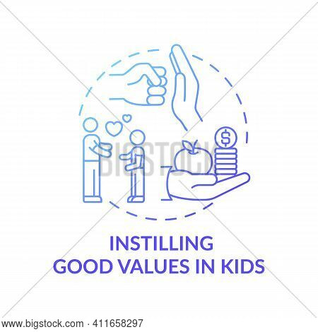 Instilling Good Values In Kids Blue Gradient Concept Icon. Teaching Child Love, Respect And Kindness