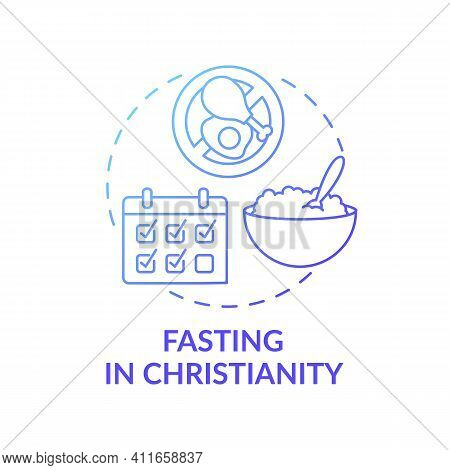 Fasting In Christianity Blue Gradient Concept Icon. Catholic Culture. Calender Dates. Great Lent. Re