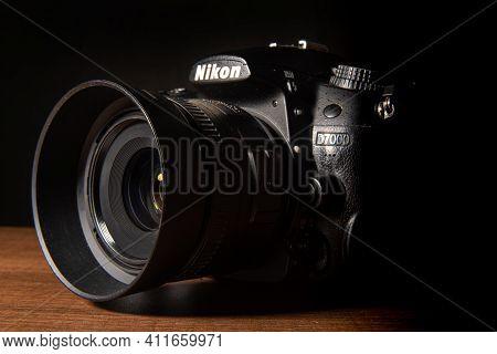 Araras, São Paulo, Brazil, March, 22, 2021, Nikon Photo Camera With 35Mm Lens Seen In Detail, Low Ke