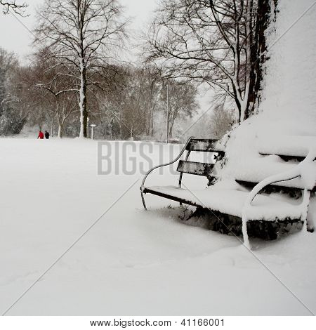 Winter walk with bench
