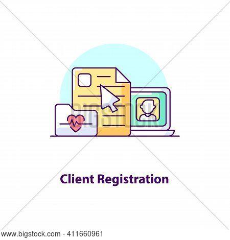Client Registration Creative Ui Concept Icon. Client Registration Online. Telemedicine, Doctor Appoi