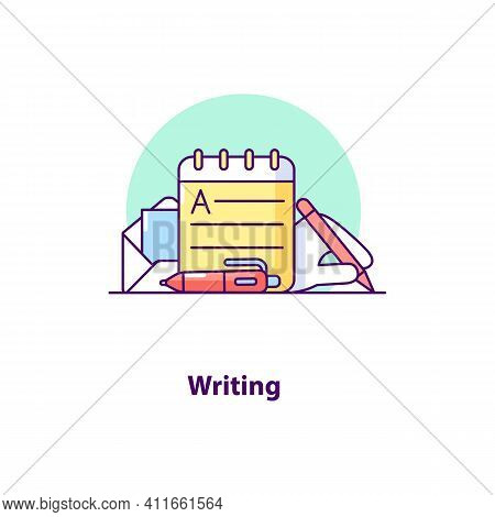 Writing Creative Ui Concept Icon. Copywriting Abstract Illustration. Writing And Literature. Creativ
