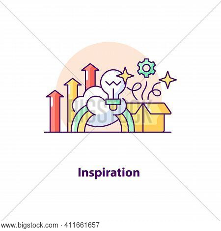 Inspiration Creative Ui Concept Icon. Creative Idea Abstract Illustration. Brainstorming. Business I