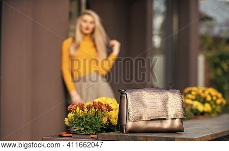 Shopping Sale And Discount. Fashion Purse. Pretty Woman Defocused And Her Beautiful Purse Close Up.