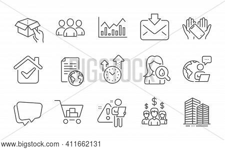 Group, Internet Document And Hold Box Line Icons Set. Moisturizing Cream, Internet Shopping And Skys