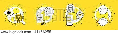 Bitcoin Atm, Winner Podium And Search File Line Icons Set. Licence, Cell Phone And Deal Vector Icons